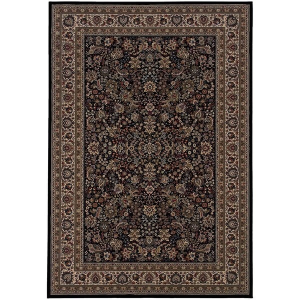 "Updated Old World Persian Flair Black/ Ivory Rug (5'3"" X 7'9"")"