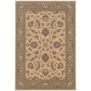 Updated Old World Persian Flair Ivory/ Green Area Rug (5'3 x 7'9)