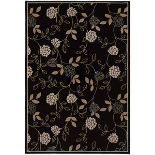 Updated Old World Persian Flair Black/ Green Area Rug (5'3 x 7'9)