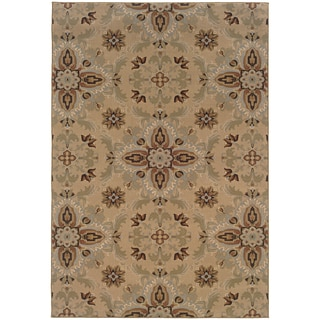 Updated Old World Persian Flair Gold/ Green Area Rug (5'3 x 7'9)