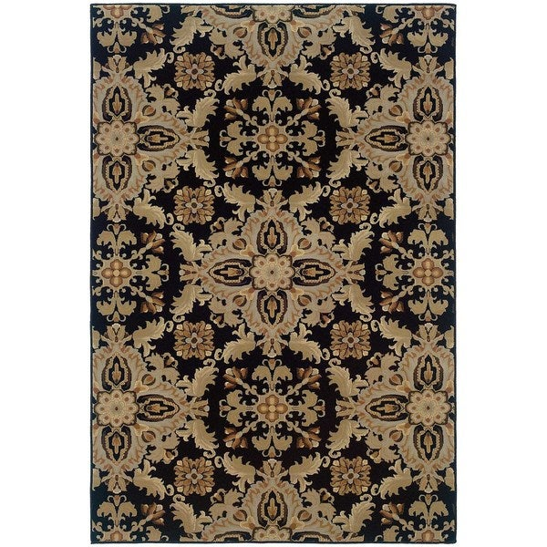 "Updated Old World Persian Flair Black/ Green Rug (5'3"" X 7'9"")"