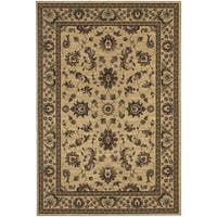 "Updated Old World Persian Flair Ivory/ Green Area Rug (5'3 x 7'9) - 5'3"" x 7'9"""