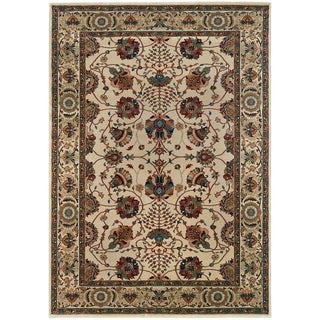 Updated Old World Persian Flair Ivory/ Red Area Rug (5'3 x 7'9)