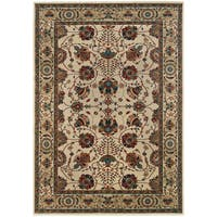 Updated Old World Persian Flair Ivory/ Red Area Rug - 5'3 x 7'9