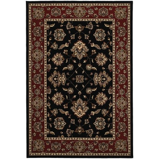 Updated Old World Persian Flair Black/ Red Area Rug (5'3 x 7'9)