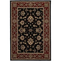 "Updated Old World Persian Flair Black/ Red Area Rug (5'3 x 7'9) - 5'3"" x 7'9"""
