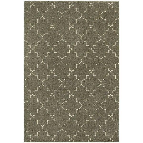 "Scalloped Lattice Heathered Grey/ Ivory Rug (5'3"" X 7'6"")"