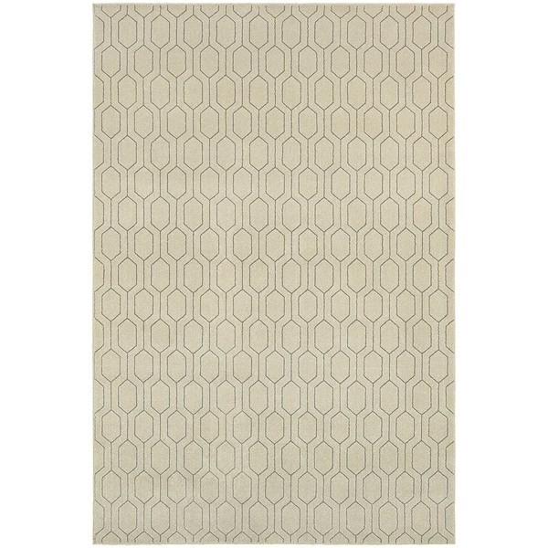 "Geometric Lattice Heathered Ivory/ Grey Rug (5'3"" X 7'6"") - 5'3 x 7'6"