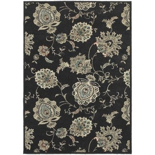 """Global Influence Floral Midnight/ Ivory Rug (5'3"""" X 7'6"""")"""
