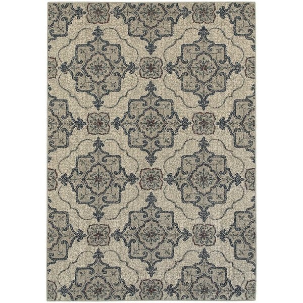 "Global Influence Floral Medallion Beige/ Grey Rug (5'3"" X 7'6"") - 5'3"" x 7'6"""