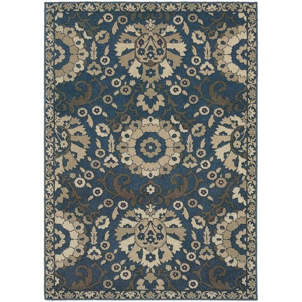 """Global Influence Floral Traditional Midnight/ Beige Rug (5'3"""" X 7'6"""") - 5'3 x 7'6"""