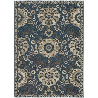 Global Influence Floral Traditional Midnight/ Beige Area Rug (5'3 x 7'6)
