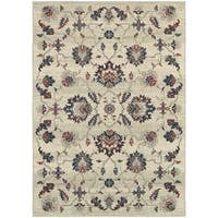 "Global Influence Floral Traditional Beige/ Multi Rug (5'3"" X 7'6"") - 5'3 x 7'6"