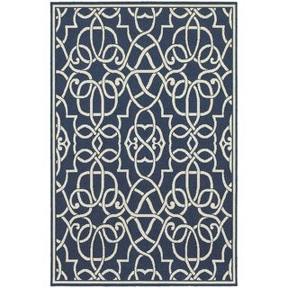 StyleHaven Geometric Navy/Ivory Indoor-Outdoor Area Rug (5'3x7'6)