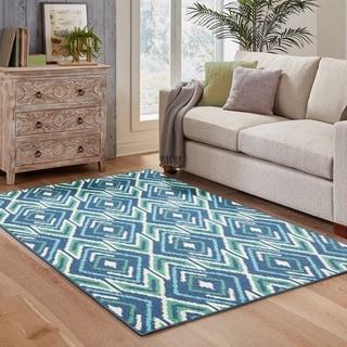 Diamond Ikat Navy/ Green Indoor Outdoor Area Rug (5'3 x 7'6)