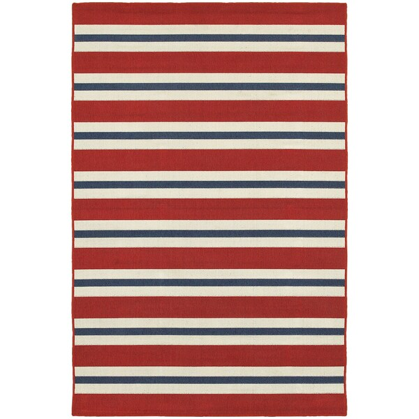 Americana Stripes Red Blue Indoor Outdoor Area Rug 5 3 X