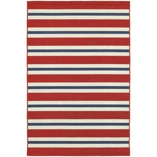 StyleHaven Striped Red/Blue Indoor-Outdoor Area Rug (5'3x7'6)