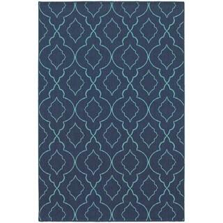 StyleHaven Lattice Navy/Blue Indoor-Outdoor Area Rug - 5'3 x 7'6