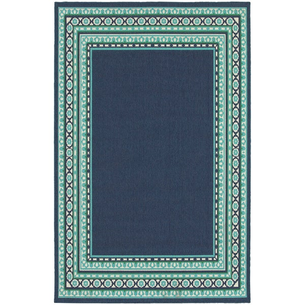 Beautiful Borders Navy Green Indoor Outdoor Area Rug 5 3