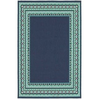 StyleHaven Borders Navy/Green Indoor-Outdoor Area Rug (5'3x7'6)