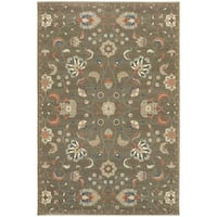 """Updated Traditional Floral Grey/ Multi Rug (5'3"""" X 7'6"""") - 5'3"""" x 7'6"""""""