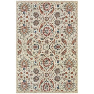 Updated Traditional Floral Beige/ Multi Area Rug (5'3 x 7'6)