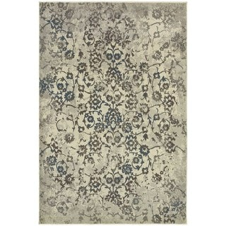 Faded Floral Beige/ Grey Area Rug (5'3 x 7'6)