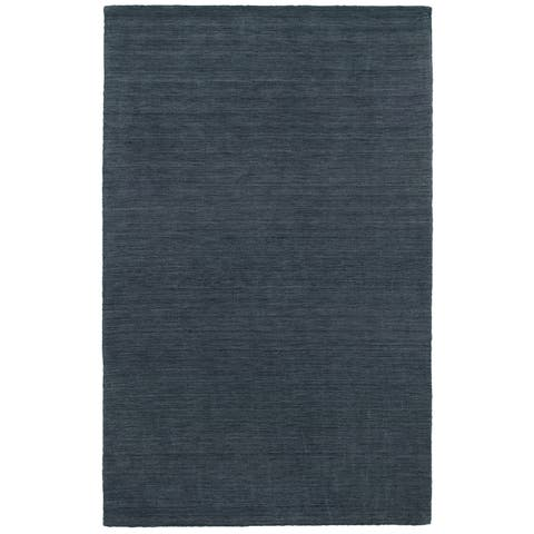 Handwoven Plush Wool Heathered Navy Rug (6' X 9') - 6' x 9'