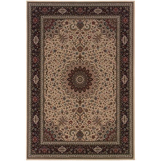 Updated Old World Persian Flair Ivory/ Black Area Rug (6'7 x 9'6)