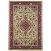 """Updated Old World Persian Flair Ivory/ Red Area Rug (6'7 x 9'6) - 6'7"""" x 9'6"""""""