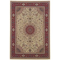 Updated Old World Persian Flair Ivory/ Red Area Rug - 6'7 x 9'6