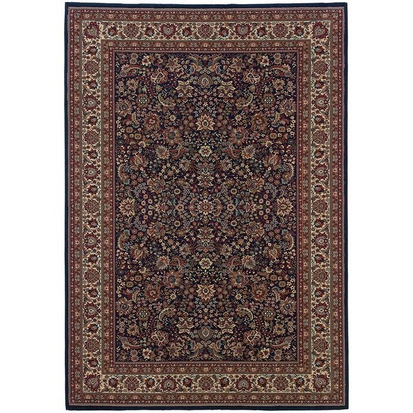 """Updated Old World Persian Flair Blue/ Red Rug (6'7"""" X 9'6"""")"""