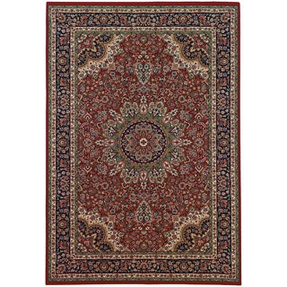 Updated Old World Persian Flair Red/ Blue Area Rug (6'7 x 9'6)