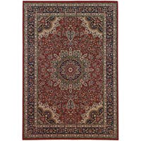 Updated Old World Persian Flair Red/ Blue Area Rug - 6'7 x 9'6