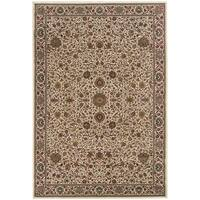 "Updated Old World Persian Flair Ivory/ Green Rug - 6'7"" X 9'6"""