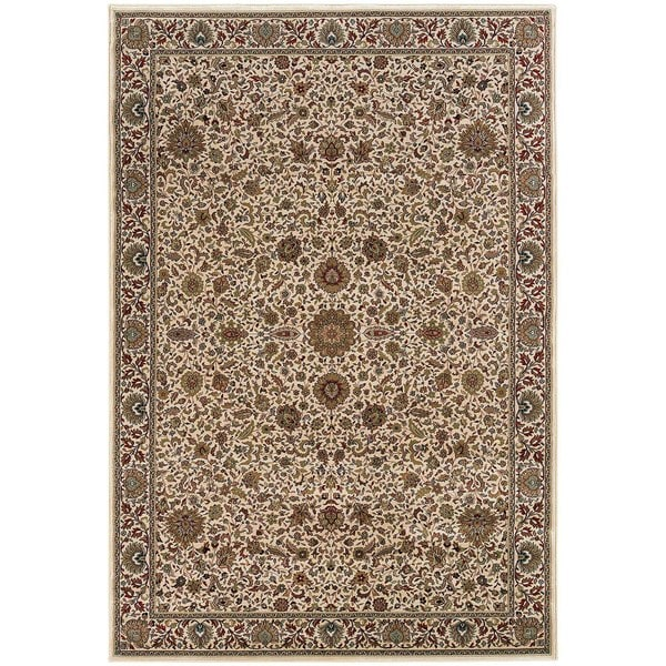 "Updated Old World Persian Flair Ivory/ Green Rug (6'7"" X 9'6"") - 6'7"" x 9'6"""