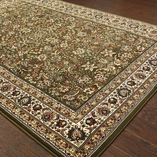 """Updated Old World Persian Flair Green/ Ivory Rug (6'7"""" X 9'6"""")"""