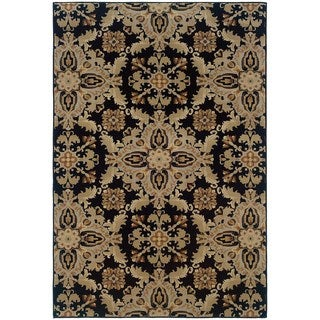 Updated Old World Persian Flair Black/ Green Area Rug (6'7 x 9'6)