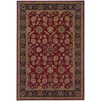 Updated Old World Persian Flair Red/ Black Area Rug - 6'7 x 9'6