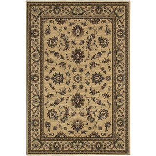 Updated Old World Persian Flair Ivory/ Green Area Rug (6'7 x 9'6)