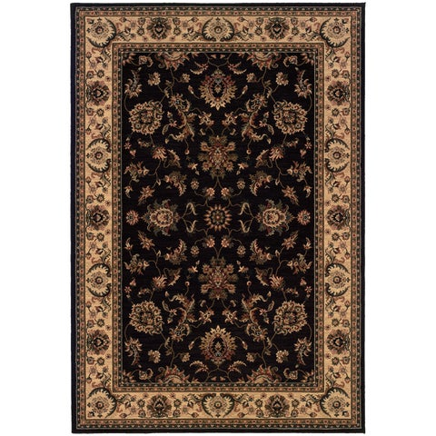 """Updated Old World Persian Flair Black/ Ivory Area Rug (6'7 x 9'6) - 6'7"""" x 9'6"""""""