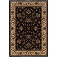 "Updated Old World Persian Flair Black/ Ivory Area Rug (6'7 x 9'6) - 6'7"" x 9'6"""