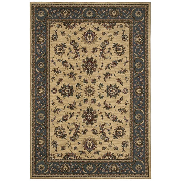 Updated Old World Persian Flair Ivory/ Blue Area Rug - 6'7 x 9'6