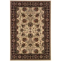 """Updated Old World Persian Flair Ivory/ Black Area Rug (6'7 x 9'6) - 6'7"""" x 9'6"""""""