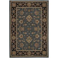 Updated Old World Persian Flair Blue/ Black Area Rug - 6'7 x 9'6
