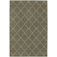 Scalloped Lattice Heathered Grey/ Ivory Rug - 6'7 x 9'6