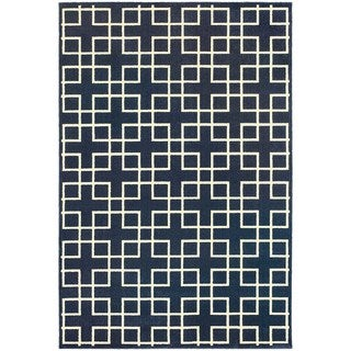 Geometric Trellis Heathered Navy/ Ivory Area Rug (6'7 x 9'6)