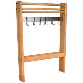 John Boos 36-inch Maple Pro Prep Pot Rack with Hooks