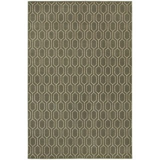 Geometric Lattice Heathered Grey/ Ivory Area Rug (6'7 x 9'6)