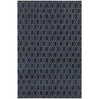 Geometric Lattice Heathered Navy/ Grey Rug - 6'7 x 9'6